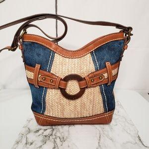 BOC Born Concept Denim Leather Shoulder Bag